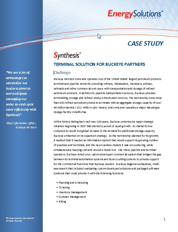 Case Study Synthesis Terminal Solution for Buckeye