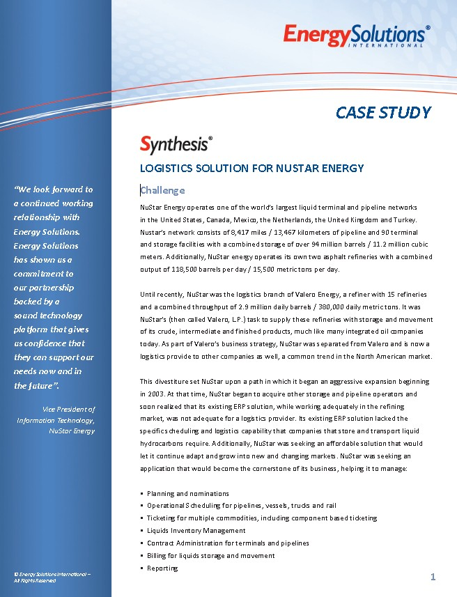 Synthesis Case Study Image - NuStar