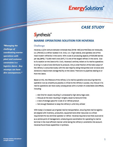 Synthesis - Marine Operations Solution for Hovensa